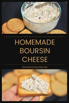 Homemade Boursin Cheese is a spreadable herb and garlic-flavored cheese. Served with crackers or crusty bread, it's a perfect appetizer for any get together! via @gratefuljb