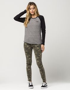 74e959ef74711d VANS Authentic Trap Boyfriend Womens Raglan Tee with army shorts instead of  pants Army Shorts