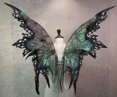 Ready to Ship Iridescent Goth Absinthe Fairy by LadyOfTheOneRing Dark Fairy Costume, Fairy Cosplay, Cosplay Wings, Diy Costumes, Halloween Costumes, Diy Fairy Wings, Absinthe Fairy, Fairy Tea Parties, Black Fairy