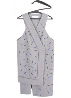 Asymmetric Vest with Glass Beads