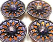 """Antique Français Twinkle boutons, 4 fleurs victoriennes en violet & cuivre, 9/16""""."""