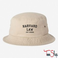 e78a5ad5516 Harvard Law Just Kidding bucket hat (30 AUD) ❤ liked on Polyvore featuring  accessories
