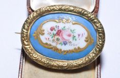 Antique Hand Painted Porcelain Flower Brooch Art Deco Jewellery French Floral Pin Gifts for Her Gift Boxed Antique Brooches, Antique Jewelry, Vintage Jewelry, Silver Jewelry, Valentines Gifts For Her, Valentines Jewelry, Art Deco Jewelry, Jewelry Gifts, Jewellery