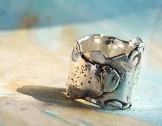 Wide Band Ring, Thick Wrapped Silver Ring: