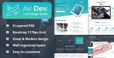 Air Dev. - One Page PSD Template by wwwebinvader       Images: Imcreator Browse PSD iPad Browse  Fonts: Open Sans Browse Raleway BrowseIcons Font: Font Awesome Brow