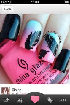 Feather nails with ombré pink and blue <3