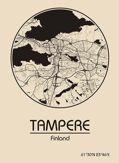 Karte / Map ~ Tampere, Finnland / Finland