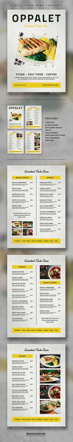 Simple Food Menu Template - Food Menus Print Templates Download here : https://graphicriver.net/item/simple-food-menu-template/19672405?s_rank=19&ref=Al-fatih