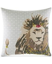 """Whim by Martha Stewart Lion 18"""" Square Decorative Pillow, Only at Macy's"""
