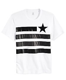 INC International Concepts Men's Faux Leather Flag T-Shirt, Only at Macy's