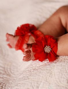 Barefoot Sandals! Red Newborn sandals baby flower sandals baby shoes shabby chiffon with rhinestone toddler baby shoe toddler shoe sandal