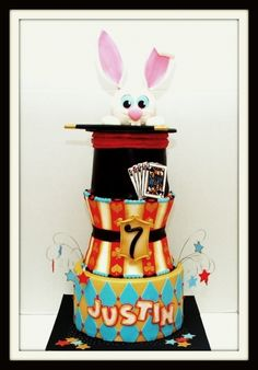 Magician Cake - One of the 3 tiered cakes I did this weekend. Based on Arte da Ka's original design with a few modifications. Bunny is styro ball covered in fondant. Magic Birthday, Birthday Cake, Birthday Parties, Birthday Ideas, 5th Birthday, Beautiful Cakes, Amazing Cakes, Magician Cake, Carnival Cakes