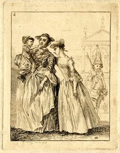 Figure studies; a girl leaning to left against the arm of a woman who holds a child wearing a plumed cap, on the left; a drummer boy standing with his sticks against his shoulder behind to right and a neo-classical building in the background.  1756 Etching printed in brownish ink