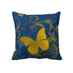 """Elegant Butterfly Swirl Pillow $72 Throw Pillow 20"""" x 20""""  Accent your home with custom pillows. Made of 100% grade A cotton. The perfect complement to your couch, custom pillows will make you the envy of the neighborhood.      Sizes 20""""x20"""" (square) and 13""""x21"""" (lumbar).     100% grade A woven cotton.     Fabric is made from natural fibers, which may result in irregularities     Made in the USA.     Hidden zipper enclosure; synthetic-filled insert included.     Machine washable."""