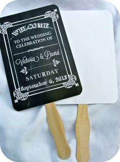 buy Personalized Wedding Favor Fans - Chalkboard