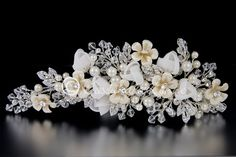 Bridal Clip Headpiece of Ivory Porcelain Flowers Pearls Jewels Crystals