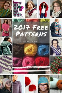 19 Free Knitting & Crochet Patterns-2017 Designs by Marly Bird-Many with Video Tutorial!
