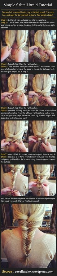 Simple Fishtail Braid Tutorial. Now to do it on my own hair...