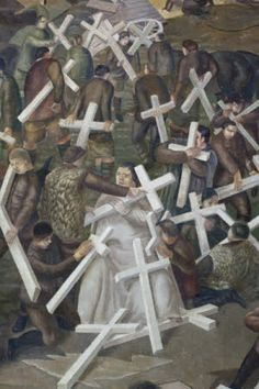 Detail from 'The Resurrection of the Soldiers', 1928-29, by Stanley Spencer from his First World War mural at Sandham Memorial Chapel, Burghclere, Hampshire