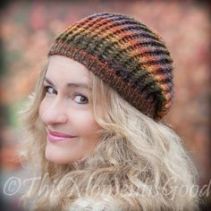 Free Loom Knit  Slouchy Bean Pattern. This Moment is Good!: LOOM KNIT HARVEST BEANIE So Easy and FREE!!