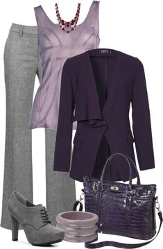 Purple & Grey by danyellefl01 on Polyvore