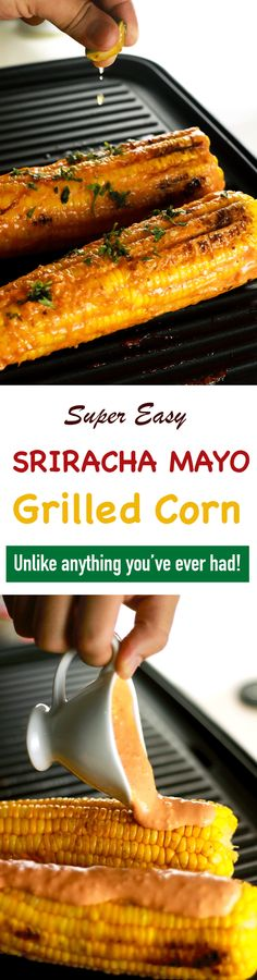 This Grilled Sriracha Mayo corn is unlike anything you've ever had!! It's the perfect combination of spicy and cream with the crunch of the corn! We bet this will become your new favorite. | ScrambledChefs.com
