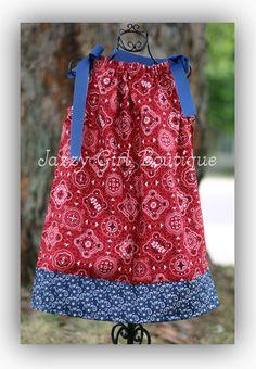 Girls Cowgirl Pillowcase Dress Red Bandana by jazzygirlboutique, $19.00