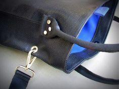 leather shoulder / shoulder bag with removable strap, magnetic closure Materials: Black perforated leather / blue goat lining Goat, The 100, Closure, Shoulder Bag, Unique, Leather, Blue, Shoulder Bags, Goats