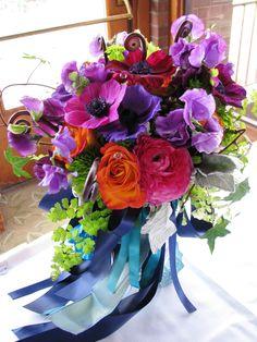 orange, pink, purple, blue, green, Bride Bouquets, Bridesmaid Bouquets, Summer Wedding Flowers & Decor