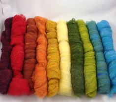 Full Rainbow Palette Pack of Wool Batting Roving by idreamingreen