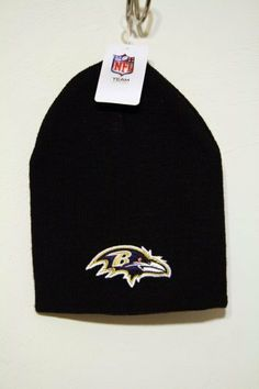 c27821869 BALTIMORE RAVENS Classic Black Cuffless Embroidered Logo Knit Beanie Hat  Ski Cap Toque by NFL.