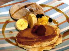 Lemon Ricotta Pancakes with Lemon Curd and Fresh Raspberries recipe from Bobby Flay via Food Network