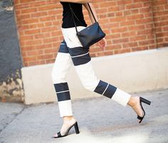 Stripe trouser pants with clear and black high heels