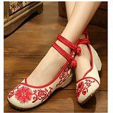 Vintage Chinese Embroidered Floral Shoes Women Ballerina Mary Jane Flat Ballet Cotton Loafer