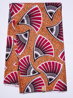 African print Fabric African fabric by the yard Wax print fabric African clothing Ankara fabric ethnic fabric cotton orange peach and pink by Shopafrican on Etsy