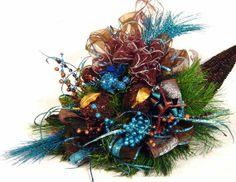 Peacock Blue Brown Centerpiece Floral Arrangement ...   Wedding Ideals