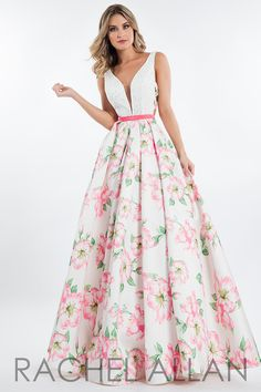 Beautiful floral ball gown with a unique strappy side! Check it out at http://www.thepromstoremo.com/p12541375/rachel-allan-prom-7664.html