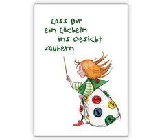 Grußkarte: Lass Dir ein Lächeln ins Gesicht zaubern - http://www.1agrusskarten.de/shop/gruskarte-lass-dir-ein-lacheln-ins-gesicht-zaubern/    00018_0_1462, Aufmunterung, Beistands Karten, Freude, Grußkarte, Illustration, Kind, Kinderkarte, Klappkarte00018_0_1462, Aufmunterung, Beistands Karten, Freude, Grußkarte, Illustration, Kind, Kinderkarte, Klappkarte