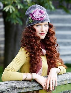 Yarnspirations coming up roses crochet and cross stitch hat. Free Pattern.
