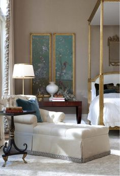 Master Bedroom - Gilded Louis bed, chaise lounge with antique furnishings & decor enhance this sophisticated master suite. Home Bedroom, Bedroom Wall, Bedroom Decor, Master Bedroom, Chaise Bedroom, Bed Room, Bedroom Interiors, Bedroom Lighting, Bedroom Colors