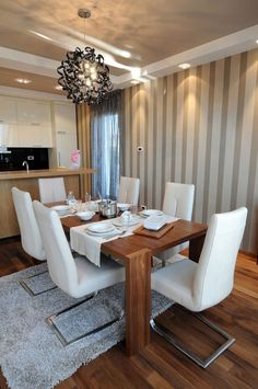Good Formal Dining Room Design With Wooden Table And Stylish White .