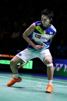 MULHEIM, GERMANY - MARCH 02:  Kento Momota of Japan competes in the Men's Singles semi finals match against Hans-Kristian Solberg Vittinghus of Denmark during day five of the Yonex German Open on March 2, 2019 in Mulheim, Germany.  (Photo by Shi Tang/Getty Images)