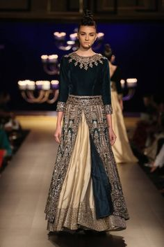 Manish Malhotra at India Couture Week 2014 - green lehnga with velvet blouse and slit