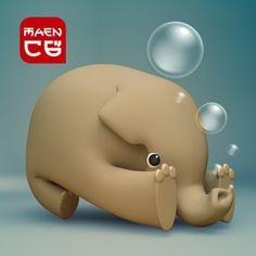 elephant takes a bath with soap bubbles
