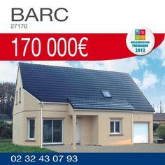 #HabitatConcept vous propose ce pavillon #RT2012 de 119 m² comprenant 4 chambres, 2 salles de bains et un garage sur un terrain de 1200 m² à BARC (27170) pour 170 000€ TTC*