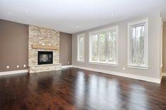 dark floors and fireplace