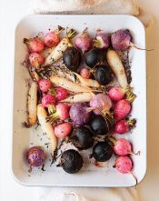 One of our favorite spring vegetables, radishes are lovely raw, roasted, simmered, or topped with miso.