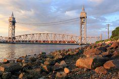Cape Cod Central Railroad's Elegant Dinner Train crossing the Buzzards Bay Railroad Bridge.