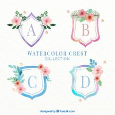 Several watercolor crests with flowers Free Vector