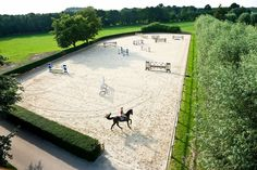 Very nice picture of a jumping arena with a galloping horse and a beautiful surrounding! #Jupinkle